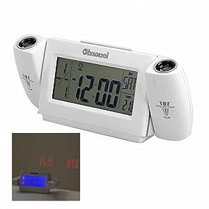 LCD Digital LED dual Proyector Alarma Estación meteorológica Reloj colorido de Proyección Screen Calendar color interior Muestra Gray  Hogar Más información y revisión del cliente