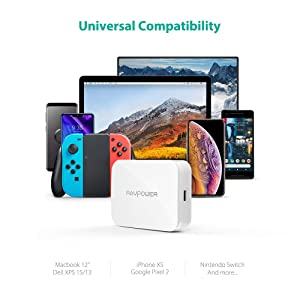 USB C PD Charger with GaN Tech, RAVPower Wall Charger Adapter 45W Type-C Power Delivery, Ultra-Compact Compatible MacBook, Dell Xps 15 13, iPad Pro, i