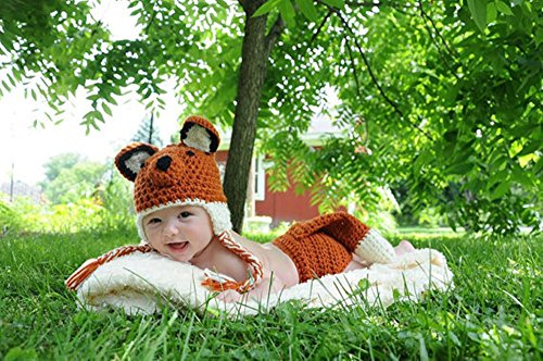 Pinbo Baby Photography Prop Cute Animal Fox Knitted Crochet Costume Hat Diaper