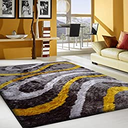 ~5 Ft. X 7 Ft. Authentic Shaggy Living Room Area Rug , Gray with Yellow, Hand-tufted, on Sale!