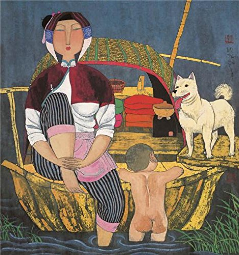 Oil Painting 'Hu Yongkai,On The Boat,21th Century' Printing On High Quality Polyster Canvas , 16x17 Inch / 41x43 Cm ,the Best Kids Room Decor And Home Decoration And Gifts Is This Reproductions Art Decorative Prints On Canvas