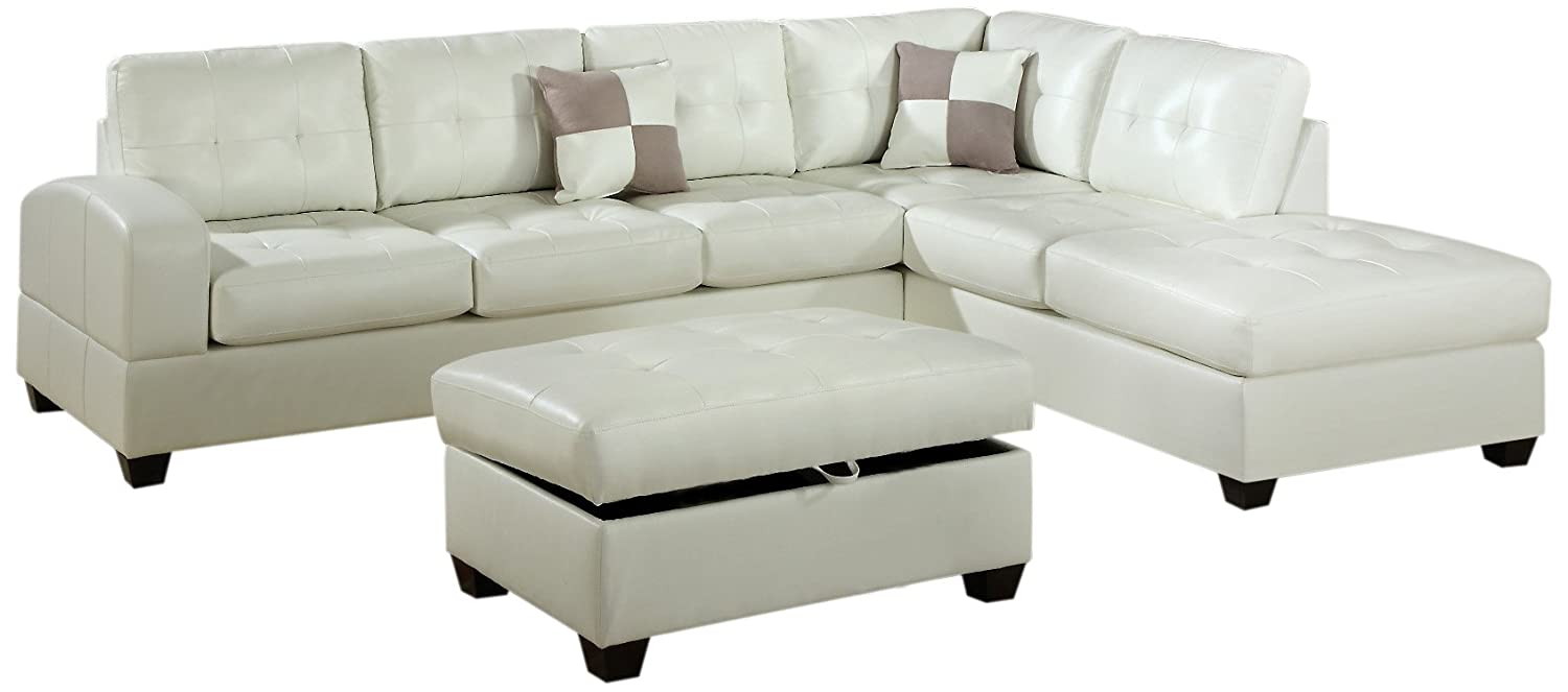 Bobkona Vonure Collection 3-Piece Bonded Leather Match Reversible Sectional Sofa with Matching Ottoman, Cream