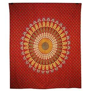 mandala hippie tapestry indian red poster tischl ufer. Black Bedroom Furniture Sets. Home Design Ideas