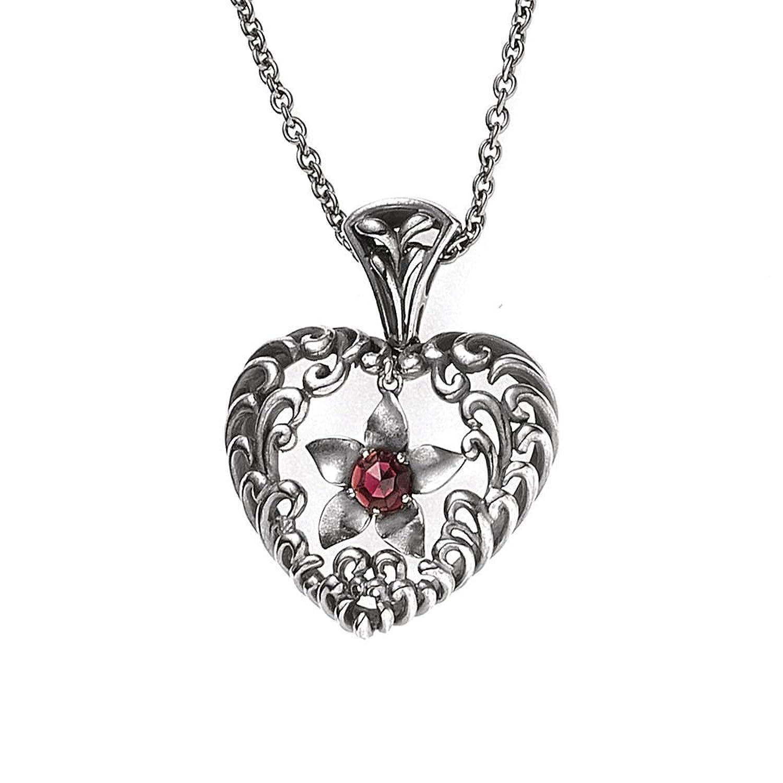 Damen Silber Collier / Silber Halskette Herz aus 925 Sterling Silber antik rhodiniert 1 Granat 45 cm Karabiner
