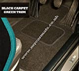 Smart Roadster (2003 to 2006) Black Car Mats + Green Trim