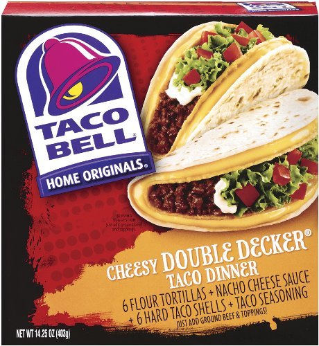 Taco Bell Home Originals Cheesy Double Decker Taco Dinner Kit, 14.25-Ounce Boxes (Pack of 10)