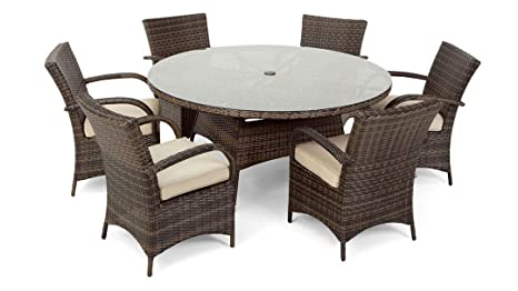 Texas Dallas Texas 6 Seat Round Rattan Garden Furniture Set - 2 tone mixed Brown