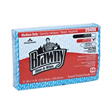 "Brawny Dine-A-Wipe 29408 Blue and White 1/4 Fold Foodservice Busing Towel, 14"" Length x 21"" Width (Case of 6 Poly Packs, 55 per Pack)"