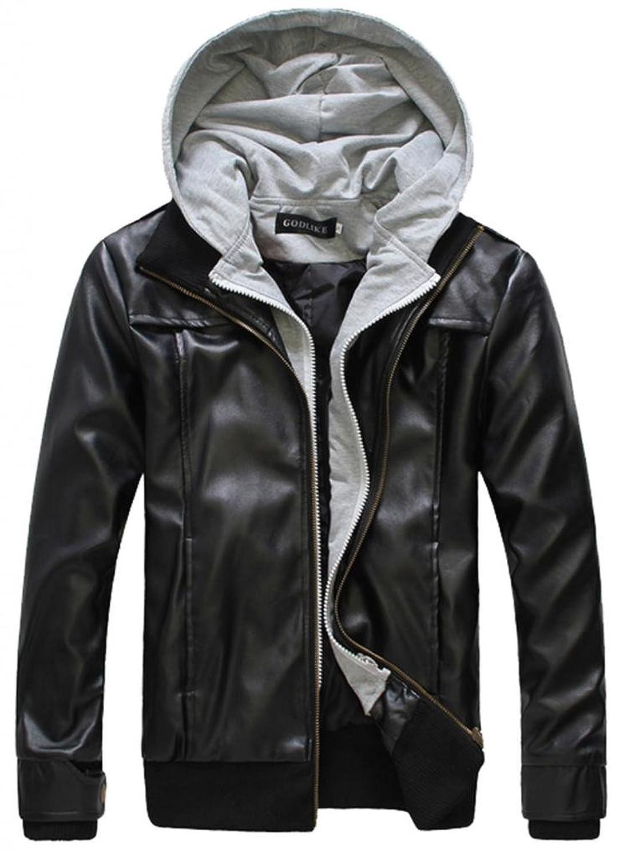 Wantdo Men's Fashion Faux Jackets Pu Leather Jackets With Removable Hood With Gift WantDo Men s PU Faux Leather