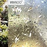 Rabbitgoo 3D ガラスフィルム 窓用フィルム 浴室目隠しシート 断熱/紫外線カット 無接着剤 再利用可能 プライバシーガラスフィルム DIY (44.5 x 200cm)