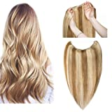 Hidden Invisible Crown Flip on Human Hair Extension One Piece Secret Miracle Wire in Hairpieces Highlight Remy Hair Translucent Fish Line Headband 65g 18'' #12P613 Light Brown with Bleach Blonde (Color: #12P613, Tamaño: 18inch)