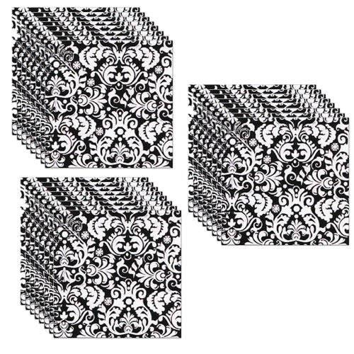 Black Damask Party Beverage Napkins - 24 Guests