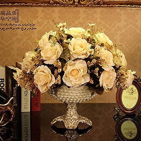 Blanco estilo arte floral conjunto comedor mesitas de café con flores floreros emulación de flores artificiales +, arte floral blanco