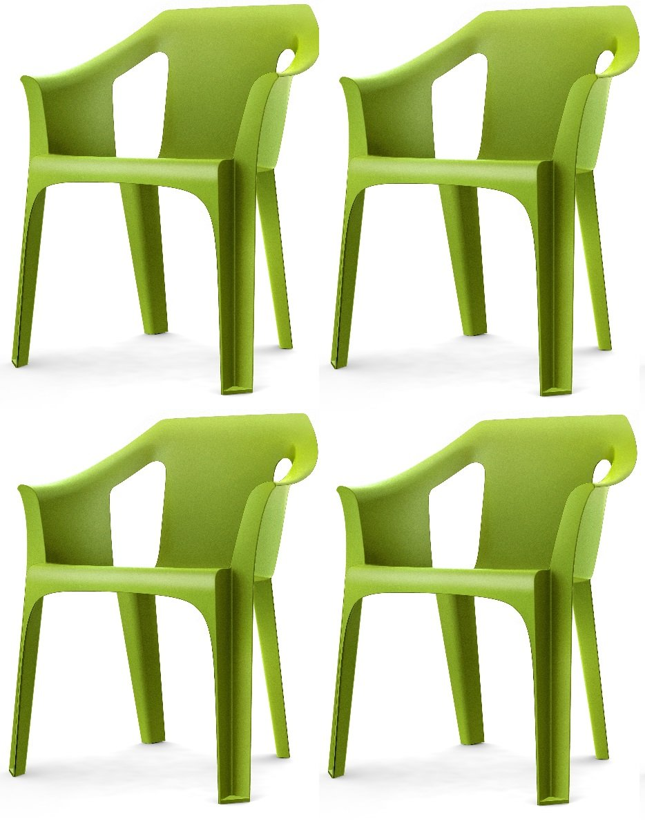 Resol  Cool  Garden Outdoor / Indoor Designer Plastic Chairs   Green   Garden Furniture (Pack of 4 chairs)       Customer review and more description