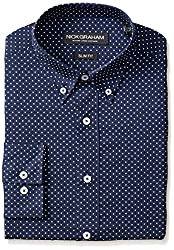 Nick Graham Men's Slim Fit Print Dress Shirt, Navy, 16/32-33