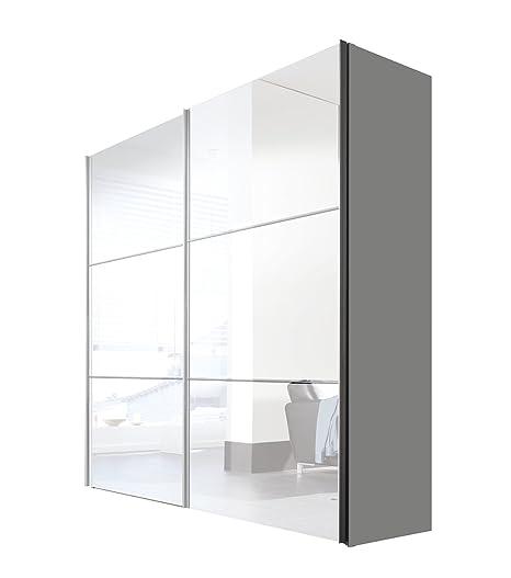 Express Möbel Schwebeturen-Kleiderschrank 200 cm Weiß Lack, Korpus Polarweiß, BxHxT 200x216x68 cm, Art, Nr. 01670-184