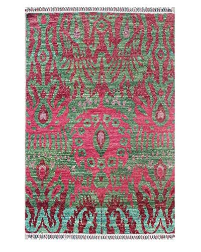 """nuLOOM One-of-a-Kind Hand-Knotted Deanna Hand-Knotted Ikat Rug, Green, 4' x 6' 4"""""""