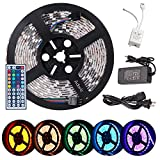 Adoric LED strip lights, 16.4ft 5m dimmable led strips SMD5050 RGB 300 LED Waterproof Flexible LED Lights with 44Key Remote+12V 5A Power Supply+IR Control Box