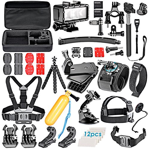 Neewer® 52-In-1 Sport Accessory Kit for GoPro Hero4 Session Hero1 2 3 3+ 4 SJ4000 5000 6000 7000 Xiaomi Yi in Swimming Rowing Skiing Climbing Bike Riding Camping Diving and Other Outdoor Sports (Omo Steering Wheel compare prices)