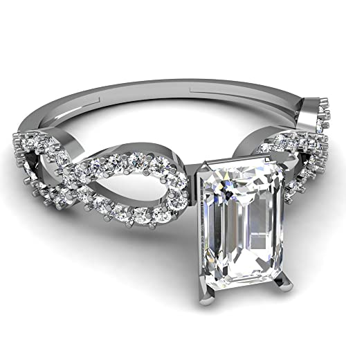 Emerald Cut Diamond Infinity Twist Engagement Ring
