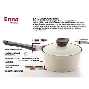 24cm céramique antiadhésif deep poêle à frire en noir et blanc grande cuisine cadeau