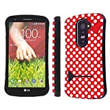 Mobiflare LG G2 Red/White Polk-a-Dots with Bow Slim Armor Shock Proof Artistry Design Phone Case
