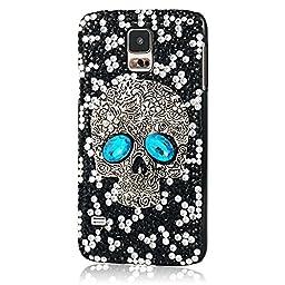 Samsung Galaxy S5 Case, Sense-TE Luxurious Crystal 3D Handmade Sparkle Glitter Diamond Rhinestone Ultra-Thin Clear Cover with Retro Bowknot Anti Dust Plug - Fashion Skull Blue / Black