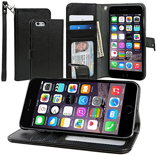 Evecase Iphone 6 Plus Case, Book Style Wallet Folio Leather Case With Credit Card Id Pockets, Stand & Strap For Apple Iphone 6 Plus 5.5'' Screen 2014 Smartphone - Black