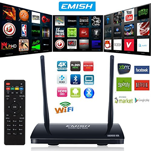 Check Out This EMISH Newst TV Box, 4K Android Smart TV Box, Game Player with Kodi, Wifi Bluetooth Fu...