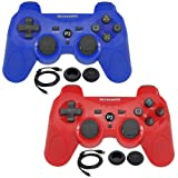 BlueLoong 2 Pack PS3 Controller Wireless SIXAXIS Double Shock Remote Dualshock Gamepad for PlayStation 3 with Charge Cable (Color: Red & Blue)
