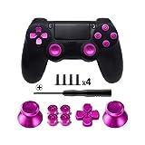 TOMSIN Metal Buttons for DualShock 4, Aluminum Metal Thumbsticks Analog Grip & Bullet Buttons & D-pad for PS4 Controller (Metal Pink) (Color: Metal Pink)