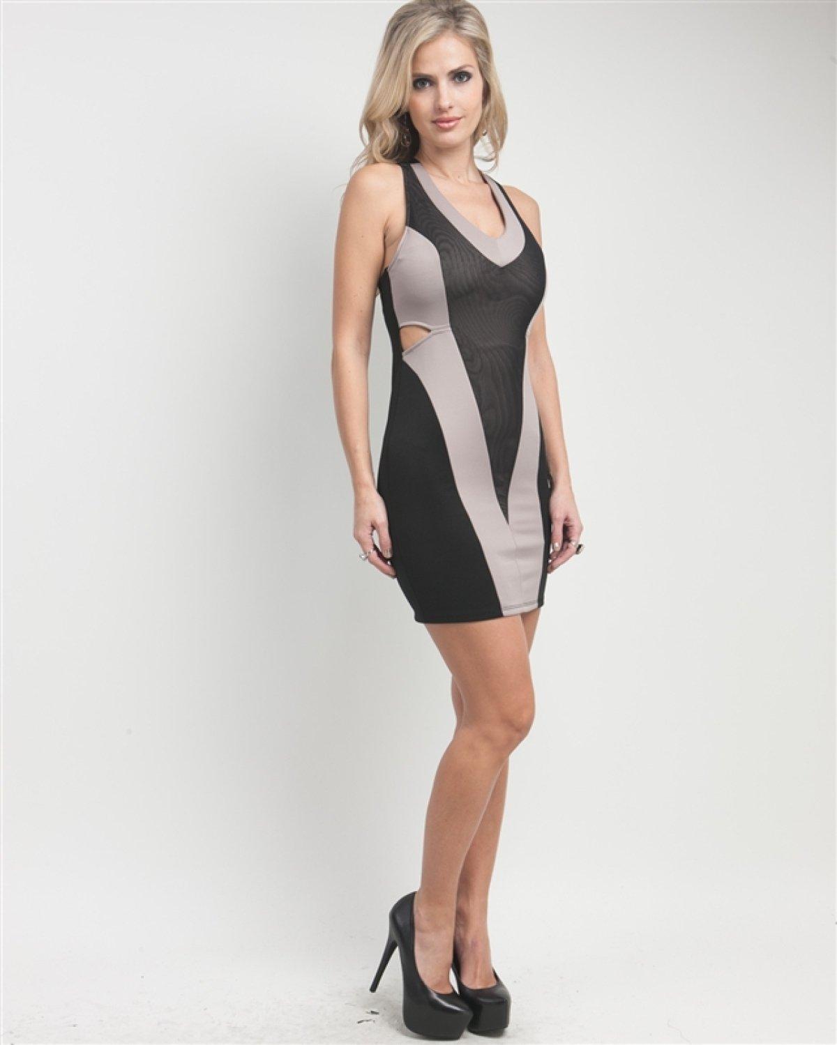 G2 Chic Crossback Colorblock Chevron Dress: