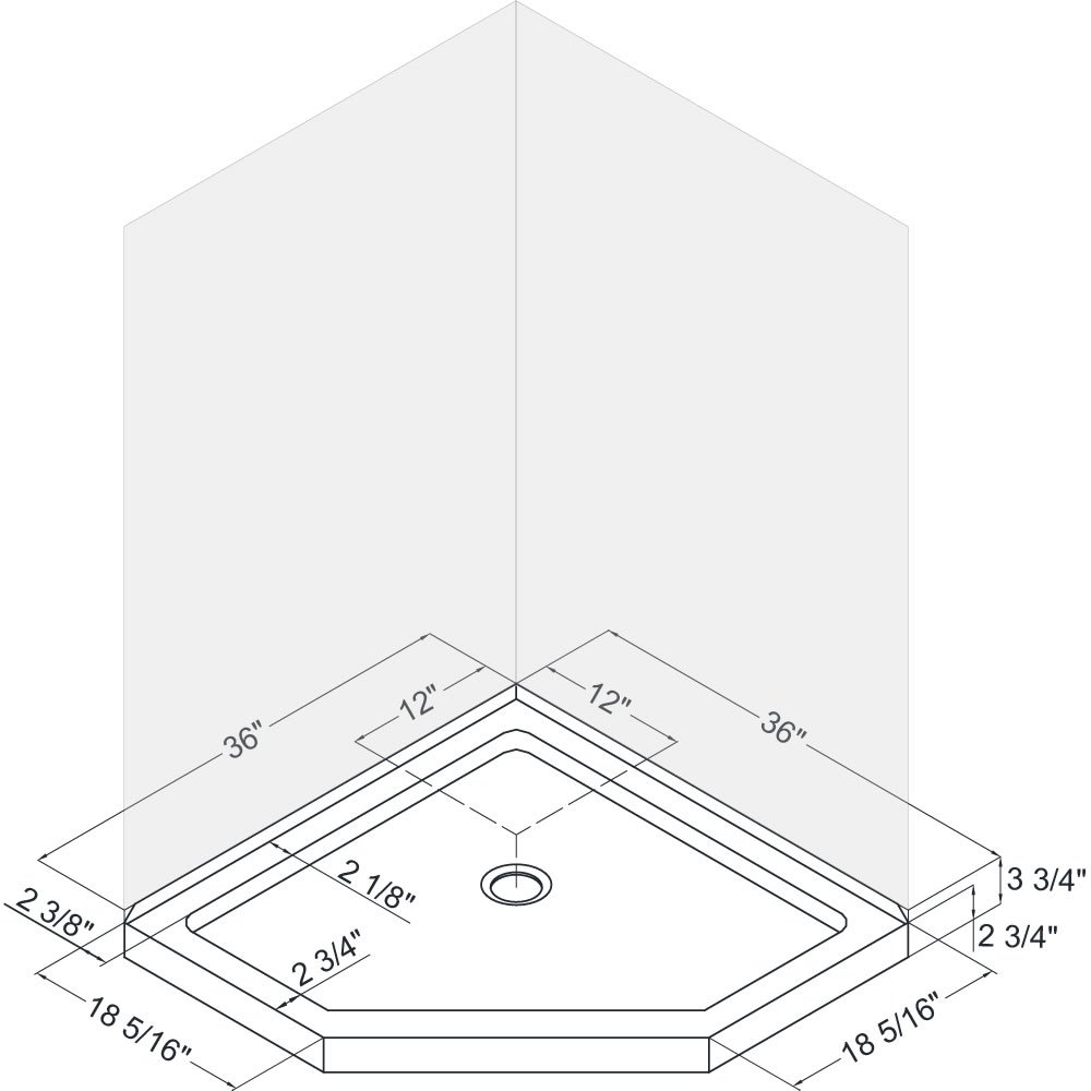 DreamLine DL-6044C-01 Qwall-4 Slimline 36 In. x 36 In. Neo-Angle Shower Base & Qwall-4 Shower Backwall Kit, 36 In. W x 36 In. D x 76.75 In. H, White Color