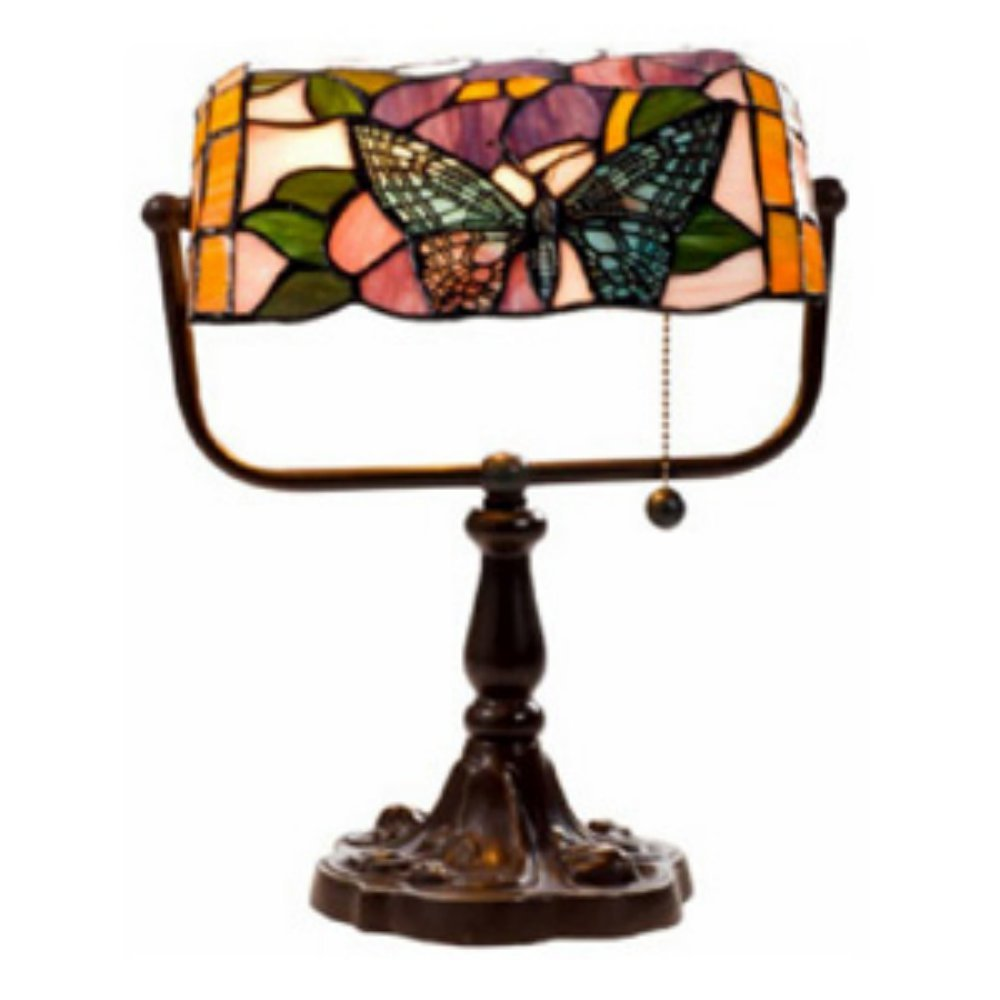 Tiffany Style Banker Butterfly Desk Lamp