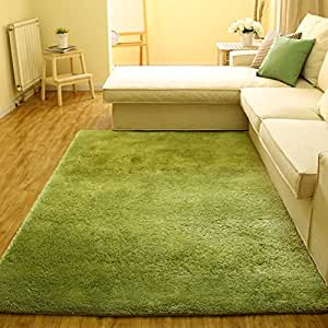 Super soft modern shag area silky smooth rugs for Living room rugs amazon