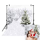 Allenjoy 5x7ft Christmas Xmas New Year Photography Photo Backdrop Background Snow Trees Holiday Party Winter Forest Snowflake Pine Snowy (Color: Style1, Tamaño: 5'x7' Durable ThickFabric)