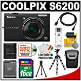 Nikon Coolpix S6200 Digital Camera (Black) with 16GB Card + Battery + Case + HDMI Cable + Flex Tripod + Accessory Kit