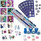 Birthday Party Favor Set for 12 - 12 Frozen Pencils, 16 Frozen Tattoos, 24 Frozen Stickers, 12 Snowflake Stampers, 12 Sheets of Snowflake Stickers