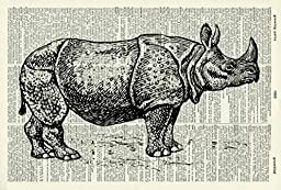 RHINOCEROS ART PRINT - VINTAGE ART PRINT - Animal Art Print - BLACK & WHITE ART PRINT - Illustration - Rhino Picture - Vintage Dictionary Art Print - Wall Hanging - Housewares - Book Print 26D