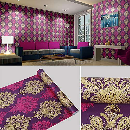 SimpleLife4U Luxury Purple Damask Removable PVC Shelf Drawer Liner Home Decor 17x118 Inch (Purple Shelf Liner compare prices)