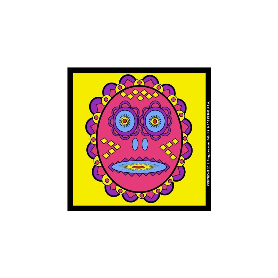 TRIBAL DAY OF THE DEAD   PINK/YELLOW   STICK ON CAR DECAL SIZE 3 1/2 x 3 1/2   VINYL DECAL WINDOW STICKER   NOTEBOOK, LAPTOP, WALL, WINDOWS, ETC. COOL BUMPERSTICKER