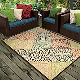 Orian Rugs Indoor/Outdoor Scroll Walker Multi Area Rug (5\'2\