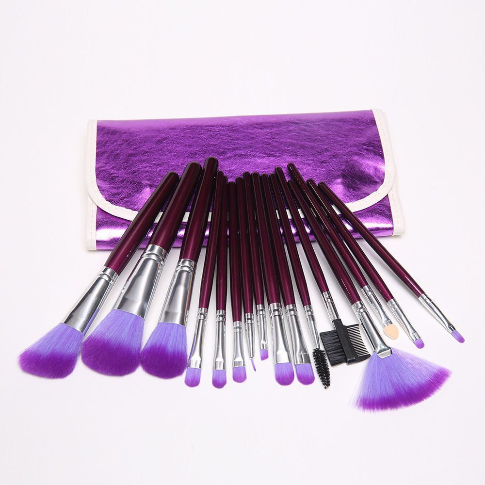 Dragonpad 16pc Professional Cosmetic Makeup Make up Brush Brushes Set Kit With Purple Bag Case make up for you portable cosmetic makeup 7 in 1 brushes set purple