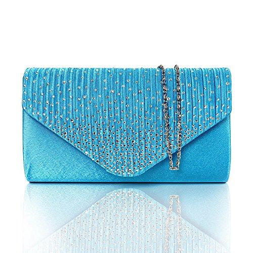 Satin-Plissee-Schaum-Diamante-Clutch-Handtasche-Damen-Mdchen-Designer-Hochzeits-Umhngetasche-Abendtasche-Trkis