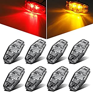 Partsam 8pcs Side Fender Marker Red/Amber Clear Lens Universal Surface Mount LED Light Repeaters