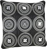 Shahenaz Home Shop Tusti Sequence 9 Circles Poly Dupion Cushion Cover - Black