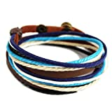 Victoria Echo Handmade Multilayer Wraps Colorful Cords Leather Bracelet Blue