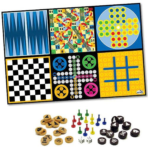 8-in-1 Kids Board Games Rug with 50 Pieces