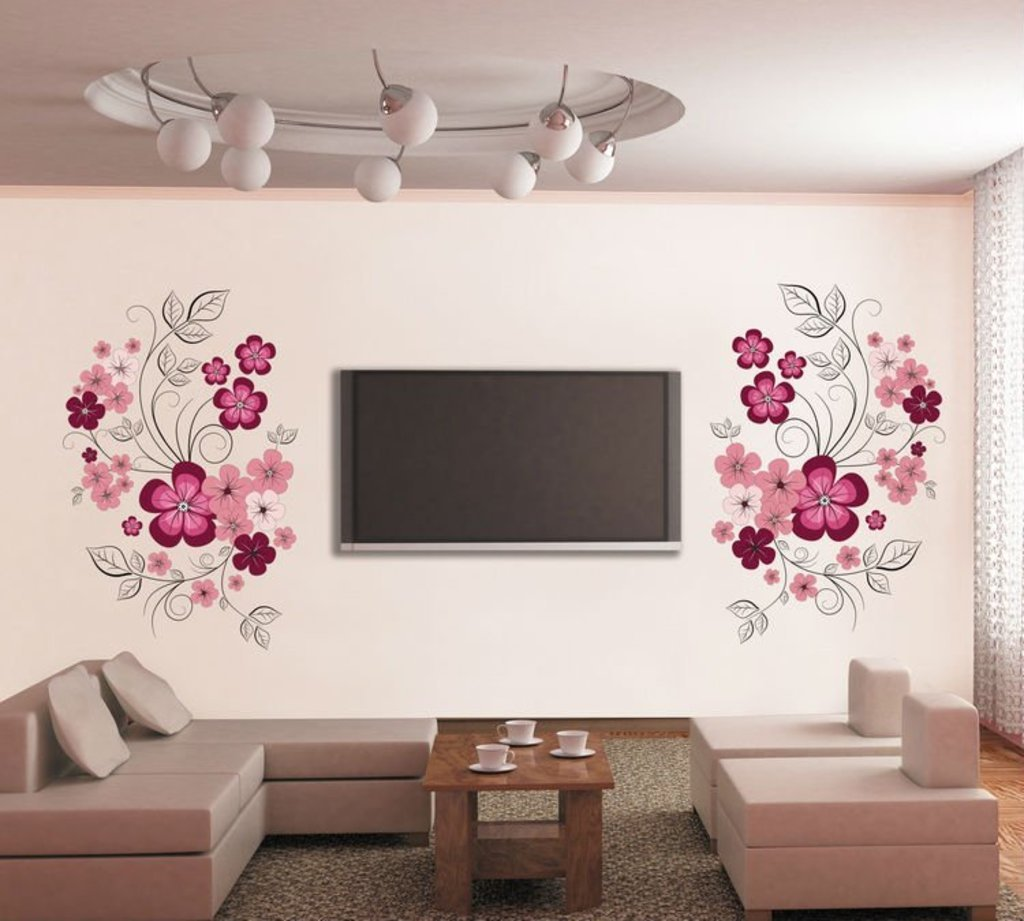 ' 'Flowers with Vine' Wall Sticker