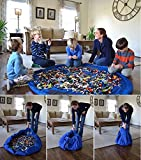 Kids Toys Organizer Bin Rug Play Mat Toy Storage Bag Container Blue Large